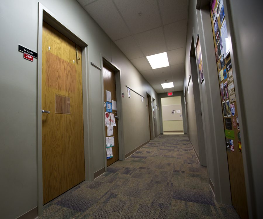 The office of Michelle Jones on South Campus, where two weeks ago there were several threatening and racist notes slid under her door. There is an ongoing police investigation into who was behind the notes.