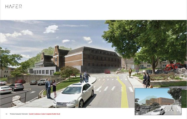 Designer's rendering of what the renovated Garrett Conference Center may look like after construction.