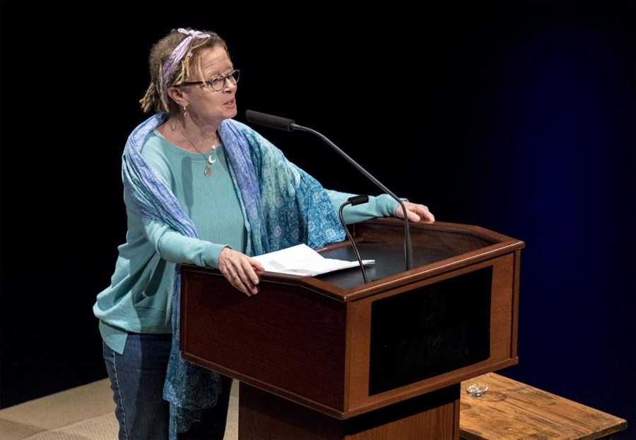 Anne Lamott, a non-fiction writer, speaks to student, faculty and staff about her life and career, along with the release of her new book