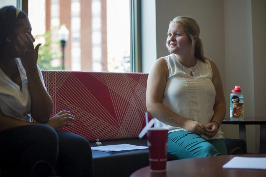 Graduate+student+McKinze+Willard+%28right%29+talks+to+students+about+her+experiences+throughout+her+years+in+college+during+WKU%27s+first+TOPTalk+of+the+semester%2C+on+Tuesday%2C+Sept.+6.+Willard+is+a+graduate+assistant+for+the+%24100+Solution+on+WKU%27s+campus+and+has+worked+with+the+ALIVE+Center+CCP+for+the+past+five+years.%C2%A0