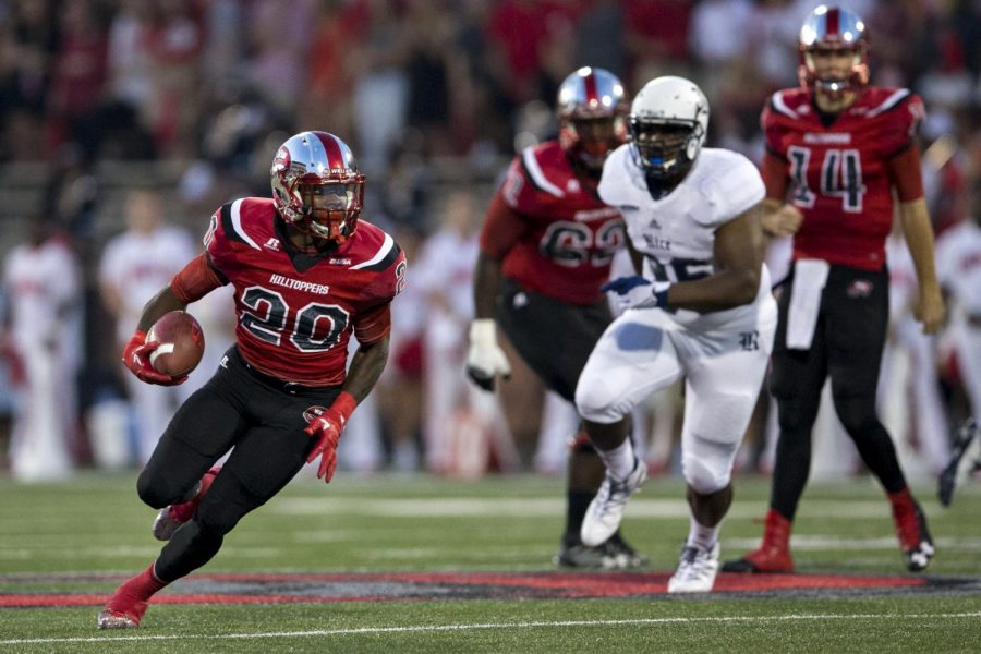 Redshirt+senior+running+back+Anthony+Wales+%2820%29+sprints+down+field+after+catching+a+pass+during+WKU%27s+46-14+win+against+Rice+on+Thursday%2C+Sept.+1%2C+2016+at+L.T.+Smith+Stadium.+Kathryn+Ziesig%2FHERALD