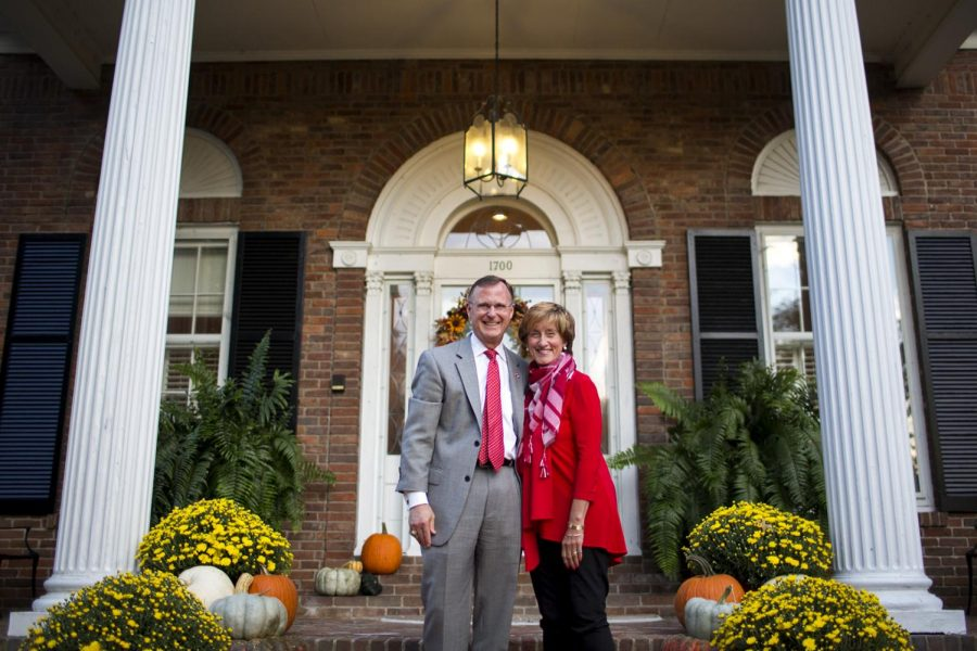 Gary+and+Julie+Ransdell+on+Monday%2C+Oct.+10%2C+in+front+of+the+President%27s+House.+Their+house+has+hosted+numerous+events%2C+conversations+and+dinners+over+the+19+years+Gary+has+been+president.+%22This+is+a+house+where+decisions+are+made+and+things+happen+that+strengthen+the+university+or+engage+some+aspect+of+the+university+in+meaningful+ways%2C%22+Gary+Ransdell+said.+%22My+favorite+thing+is+hosting+a+student+event+and+getting+to+know+the+students%2C%22+Julie+Ransdell+said.