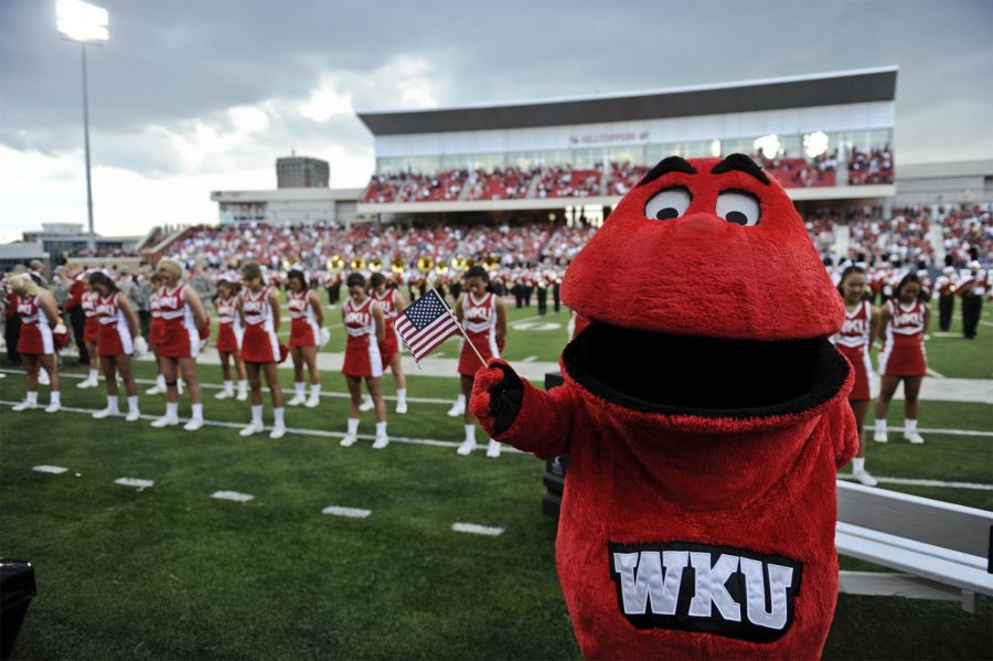 Big Red pauses for a moment of silence before a WKU football game on Sept. 10, 2011, in Smith Stadium. Big Red has been WKU's mascot since 1979 when it was created by Ralph Carey.