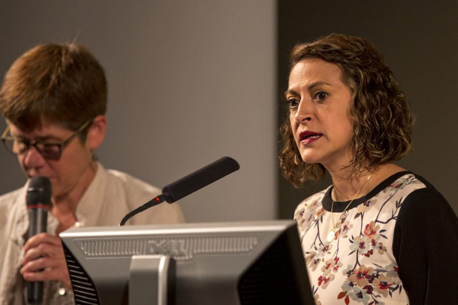 Award-winning Colombian journalist, Jineth Bedoya Lima, right, speaks to WKU students and faculty with translator Melissa Stewart on Tuesday, Oct. 4, at Ransdell Hall. Lima visited WKU to receive the first Fieischaker/Greene Award for Courageous International Reporting.