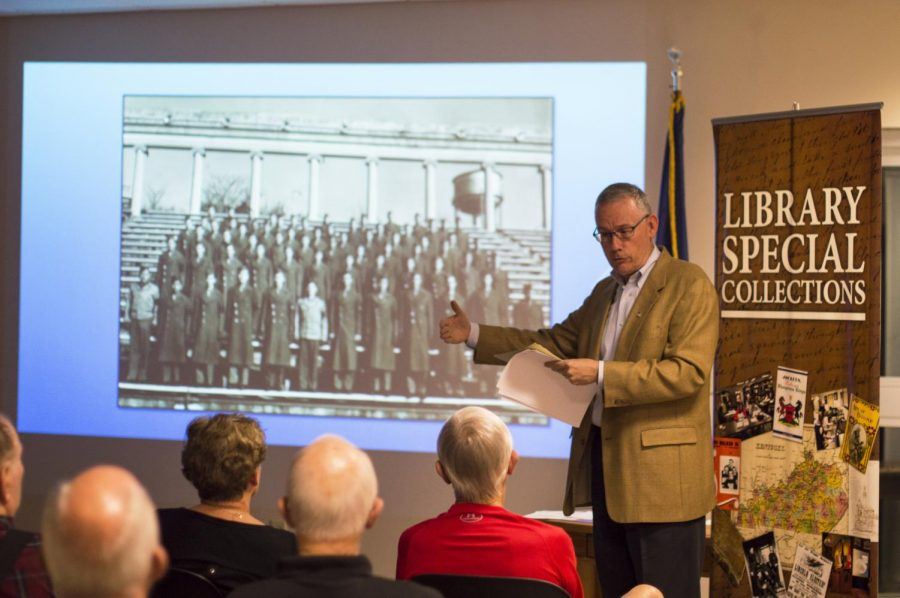 Jonathan Jeffery, head of the department of library special collections, and manuscripts/folklife archives coordinator discusses the history of the Bowling Green-Warren County Regional Airport on Tuesday, Oct. 18, at the Bowling Green airport. Jeffrey was one of three WKU faculty who spoke during the presentation. Hannah Leboeuf/HERALD