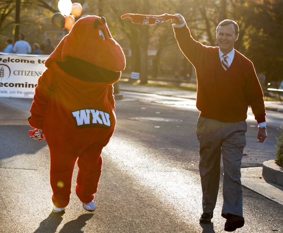 President Gary Ransdell and Big Red lead the parade behind the WKU marching band during the Citizens First Homecoming Parade Sept. 29, 2010, on Avenue of Champions. Julia Walker Thomas/HERALD