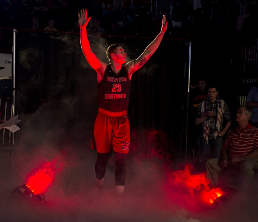 Junior+guard+Justin+Johnson+%2823%29+waves+to+the+crowd+during+Hilltopper+Hysteria+on+Friday%2C+Oct.+14+at+Diddle+Arena.+Jeff+Brown%2FHERALD