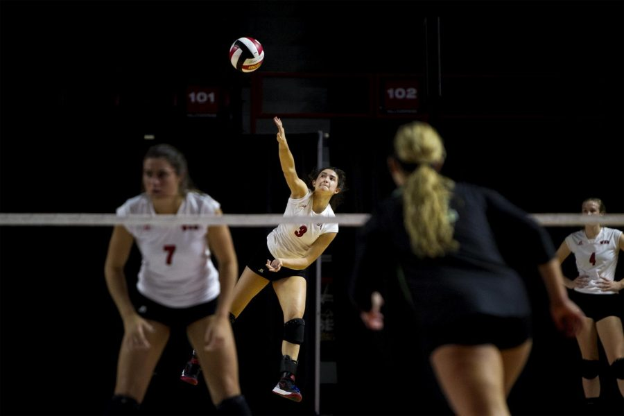 Freshman defensive specialist Emma Kowalkowski (3) serves the ball during the Lady Topper volleyball teams victory over North Texas during senior night on Thursday, Nov. 10, at Diddle Arena. The volleyball team was undefeated in all Conference USA games. Kathryn Ziesig/HERALD