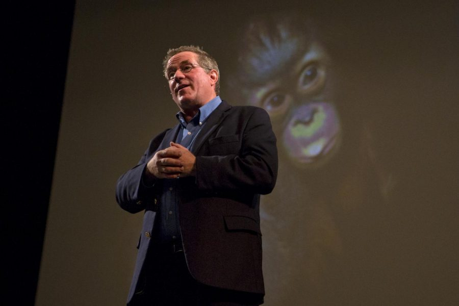 National Geographic photographer Joel Sartore speaks at Van Meter Hall about his experience and work with documenting endangered species around the world.