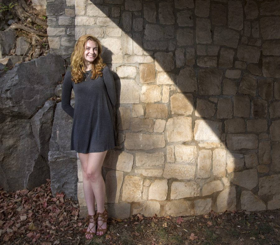 Sophomore Emma Margavio of Bartlett, Tenn. is a Nursing major who will be wearing a grey dress for all of November as part of the One Grey Dress Project to raise awareness of human trafficking.