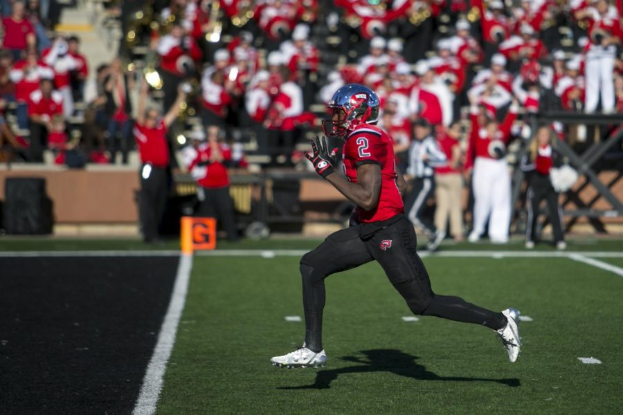 Senior wide receiver Taywan Taylor (2) runs into the endzone for a touchdown during WKU' 45-7 victory over North Texas on Saturday, Nov. 12, 2016 at L.T. Smith Stadium. Taylor caught 6 passes for 166 yards and 3 touchdowns. Brendan O'Hern/HERALD