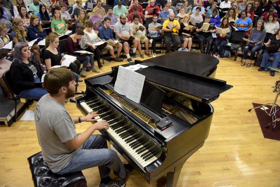 Bremen junior Ryan Jones plays the piano along with Essence in Harmony, a group comprised of members of WKU Choral and the Southern Kentucky Choral Society on Monday in the Music Hall. The group will be performing on Friday in the Van Meter Auditorium at 7:30 p.m. Matt Lunsford/HERALD