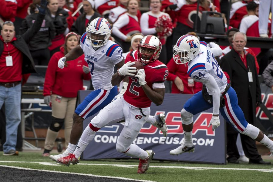 Western Kentucky wide receiver Taywan Taylor (2) catches the ball to score a touchdown against Louisiana Tech during the C-USA Championship game on Saturday, Dec. 3, 2016 at Houchens-Smith Stadium in Bowling Green, Kentucky. The Hilltoppers led 38-27 at the half. (Jeff Brown/Herald)