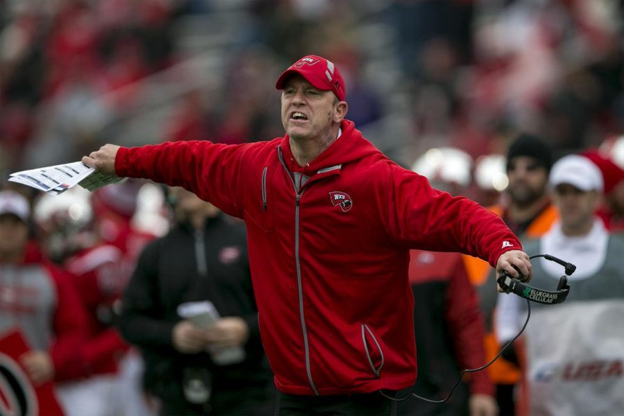 Head coach Jeff Brohm yells at the refs a after a call during the first half of the Conference USA Championship between WKU and Louisiana Tech on Dec. 3, 2016 at L.T. Smith Stadium. Kathryn Ziesig/HERALD