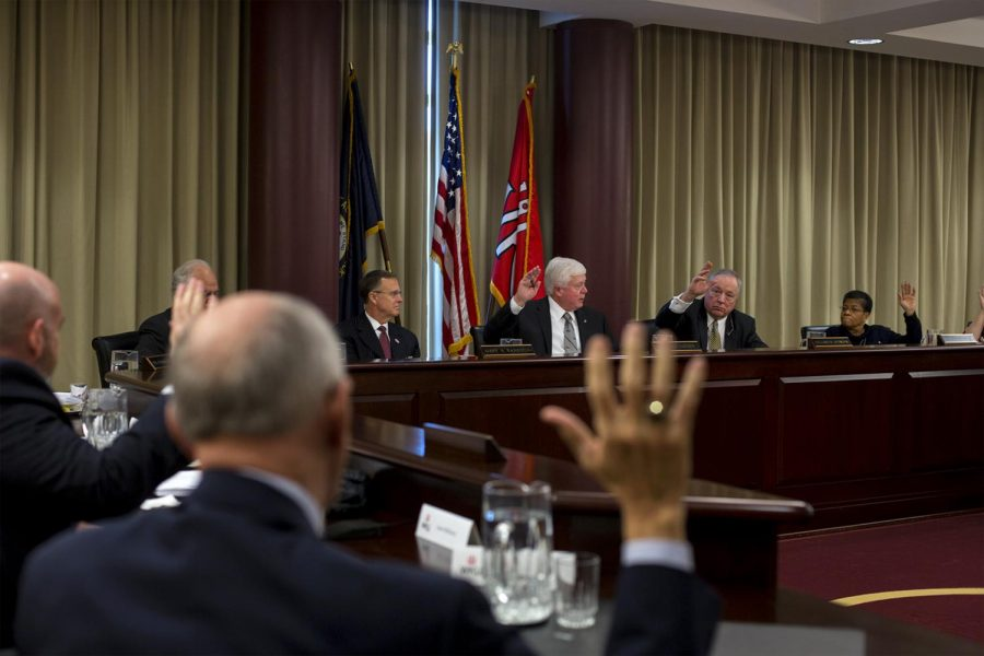 The Board of Regents votes for candidate Tim Caboni as the 10th president of Western Kentucky University on Friday at its quarterly meeting.
