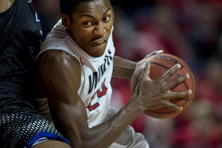 WKU+forward+Willie+Carmichael+%2812%29+drives+past+a+Kentucky+Wesleyan+College+defender+during+the+Hilltoppers+103-97+double+overtime+win+over+Kentucky+Wesleyan+College+on+Saturday+Nov.+5%2C+2016+at+E.A.+Diddle+Arena.+Carmichael+had+7+points+for+the+game.