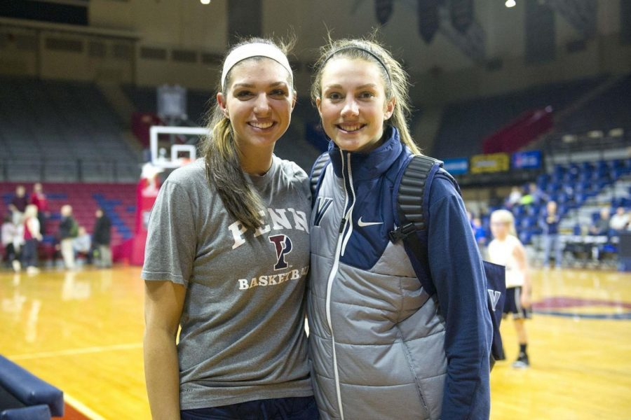 Former Cumberland Valley stars Jackie Falconer, left, and Kelly Jekot reunited for the first time on a basketball court in four years back in January when Villanova faced Penn in Big 5 action at the Palestra in Philadelphia. Jekot made her second start as a freshman, finishing with seven points, six rebounds and five assists.