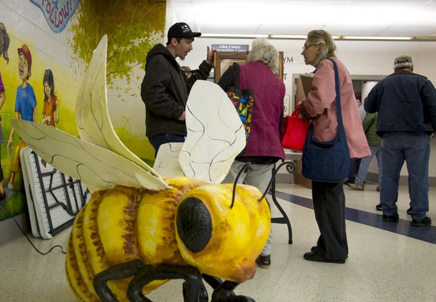 Clarksville Tennessee native, Tyler Bayton points out the queen bee in his bee hive display at the South Central Kentucky Beekeeping School held in Allen county Kentucky on Feb 4, 2017.