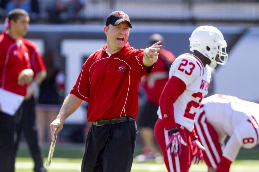 Head coach Jeff Brohm reacts during the Red and White Spring Game Saturday, April 19, 2014, at Houchens Industries - L.T. Smith Stadium in Bowling Green, Ky. (Mike Clark/HERALD)