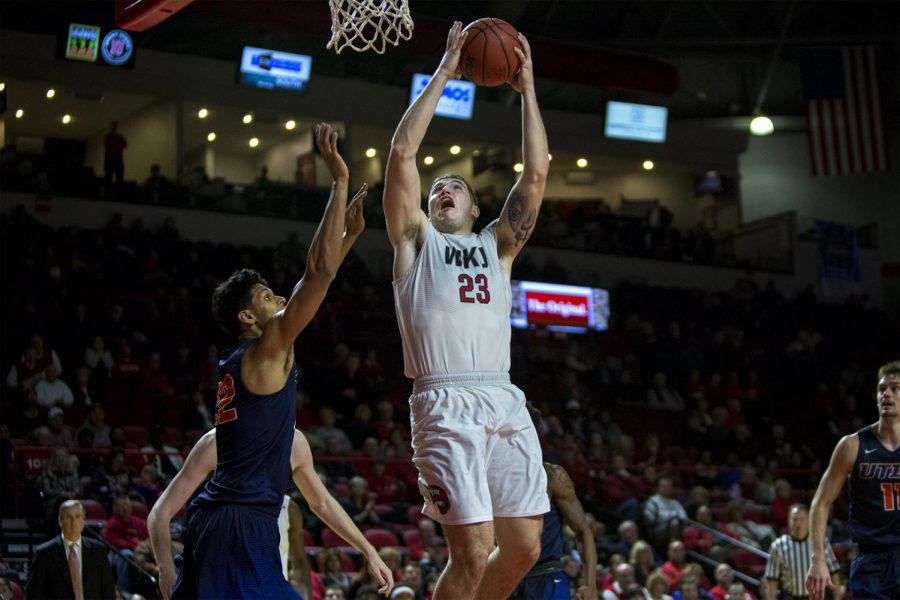 Junior forward Justin Johnson (23) goes for a layup during WKUs 65-62 victory over UTEP on Thursday, Jan. 26, 2017 at E.A. Diddle Arena. Johnson made recovered 12 rebounds.