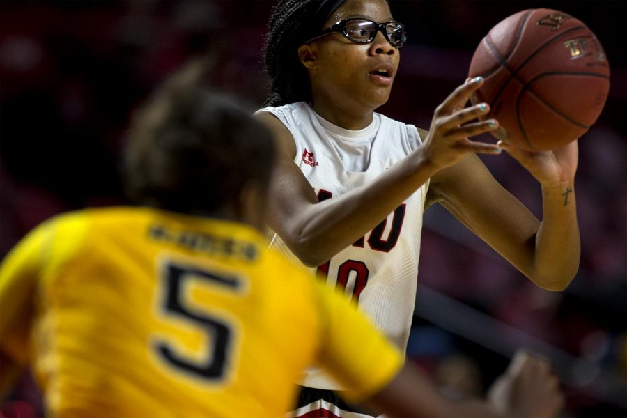 WKU+Lady+Toppers+forward+Tashia+Brown+%2810%29+looks+to+pass+as+she+is+defended+by+a+Southern+Miss+player+during+the+Lady+Toppers%27+79-53+win+over+Southern+Miss+on+Saturday+Feb.+4%2C+2017+in+Diddle+Arena.