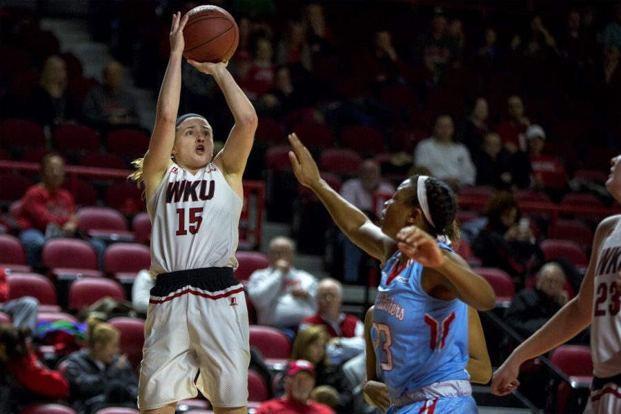 Freshman+guard+Whitney+Creech+%2815%29+shoots+a+jump+shot+as+LA+Techs+forward+Reauna+Cleaver+defends+her+during+the+Lady+Toppers+67-58+win+over+LA+Tech+on+Thursday+Feb.+2%2C+2017+in+Diddle+Arena.+%28Ebony+Cox%2FHERALD%29