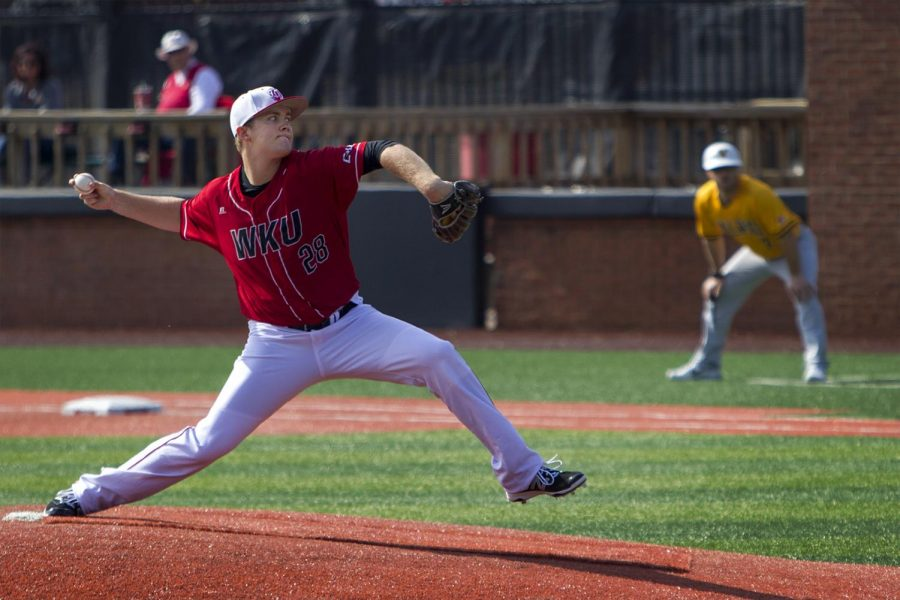 Junior pitcher Paul Kirkpatrick led Hilltoppers on Sunday Feb. 19, 2017 pitching 4.1 innings and getting two strikeouts. WKU fell 2-5 to Valparaiso in their first loss of the season.