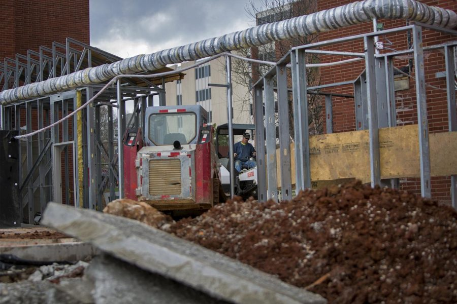 Complete Construction of Kentucky employee, Danny Taylor, 64, works at Northeast Hall on March 27, 2017. Taylor said he has been working at the site on and off for a few weeks.