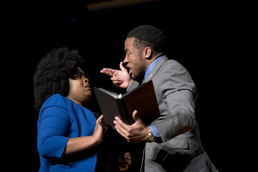 WKU Juniors Lyric Davis, from Kansas City, Mo. (left) and Durwan Green, from Dallas, Texas (right) perform a duo interpretation of Things Never Said by Charles Murray during the Black Excellence Exposition hosted by WKU Forensics on Feb. 28. The piece aimed to highlight the plight of domestic abuse experienced at higher rates by African American women.