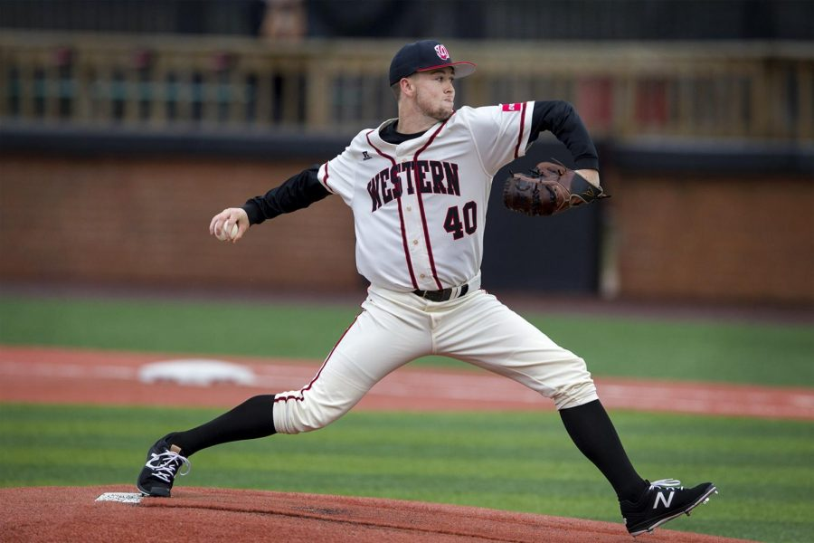 Redshirt+Freshman+pitcher+Caleb+Bruner+%2840%29+gets+ready+to+throw+the+ball+during+the+10-4+loss+against+Lipscomb+University+on+Tuesday+Feb.+28%2C+2017+at+Nick+Denes+Field.