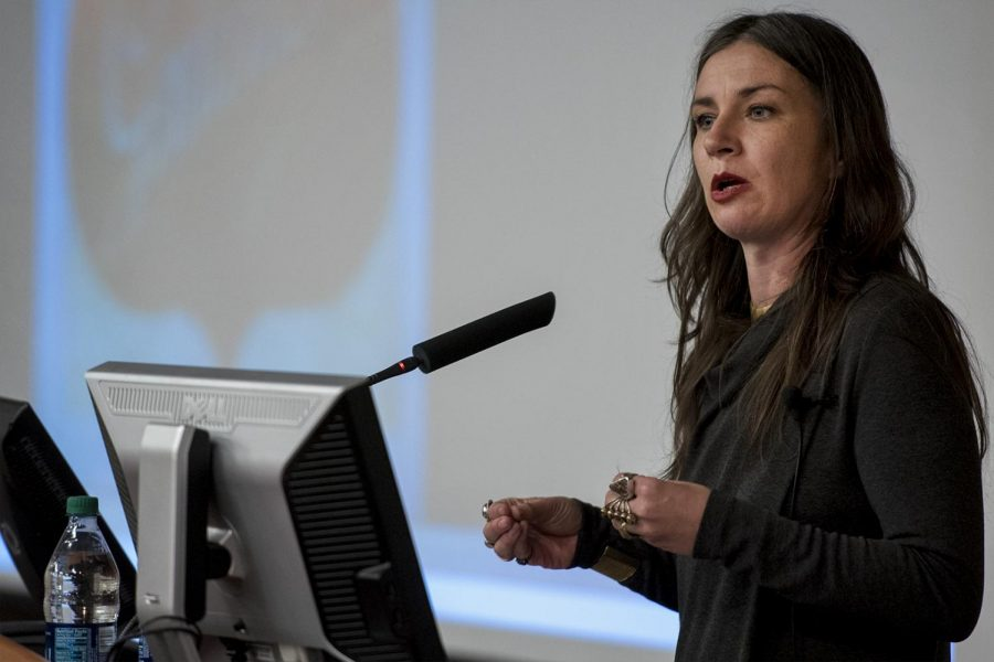 Dr. Jessica Pliley speaks to students in the Gary Ransdell Hall auditorium about sex trafficking in the early twentieth century. Pililey was invited to speak as a part of the Boyd-Lubker visiting scholars program, which is designed to share expertise from a wide range of disciplines with the WKU community.