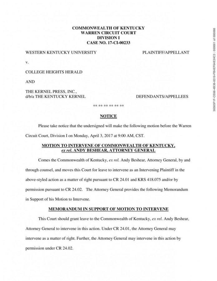 Attorney General files motion to intervene in WKU, Herald lawsuit