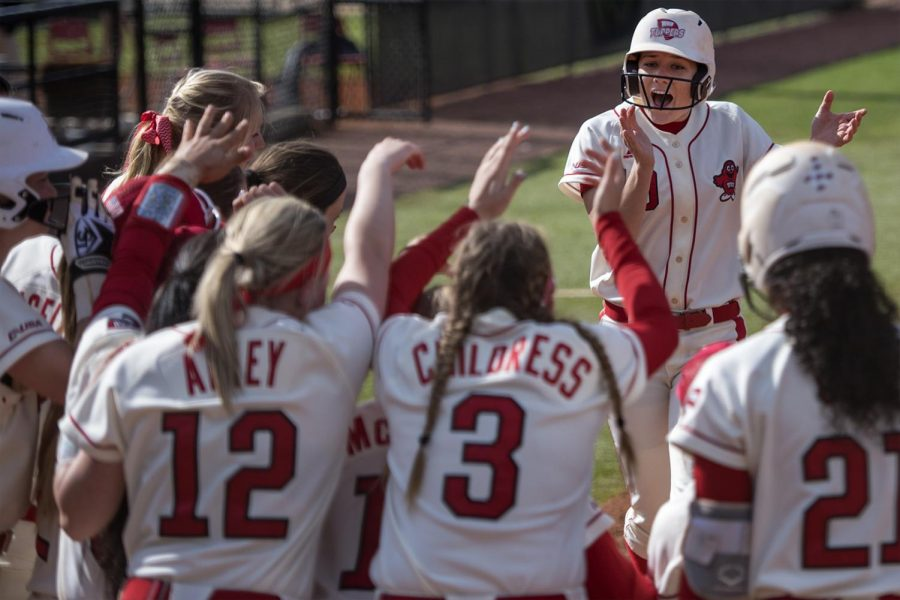 Junior utility player Jordan Mauch (19) runs home to score during the Lady Toppers' 7-3 win on Saturday April 1, 2017 at the WKU Softball Complex.