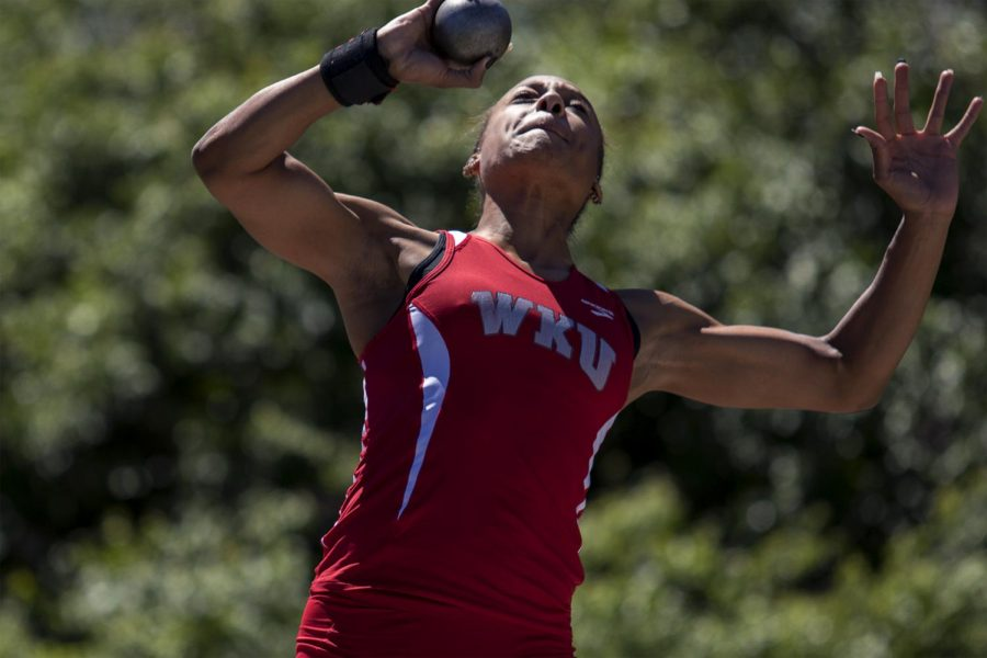 Senior+thrower+Jenessa+Jackson+throws+during+the+Hilltopper+relays+on+Friday%2C+April+7%2C+%C2%A0at+the+Charles+M.+Reuter+Track+and+Field+Complex.