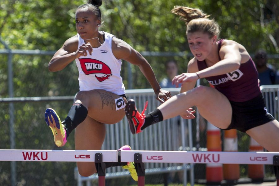Red+shirt+senior+Catika+Slay+%286%29+competes+in+the+100+meter+hurdles+event+during+the+Hilltoppers+Relays+on+April+8%2C+2017.+Slay+came+in+14th+overall+with+a+time+of+15.01+seconds.+Brook+Joyner%2FHERALD
