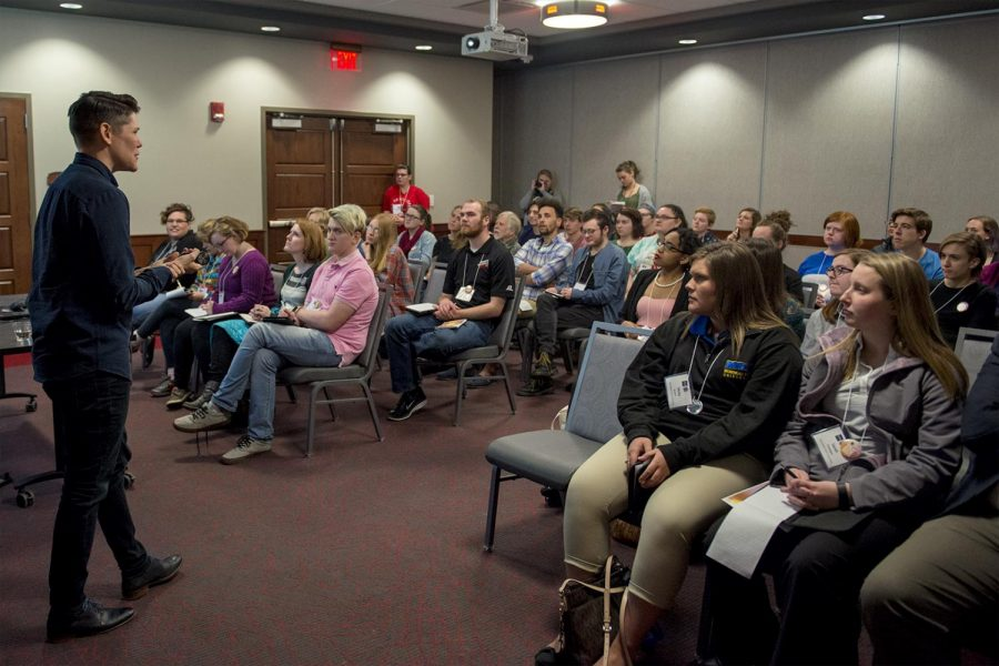 Grayson Hunt, assistant professor of philosophy speaks, during the Gender Communication Conference which was held in Downing Student Union on Saturday. Last year the conference had around 70 to 80 participants; this year 116 people signed up.