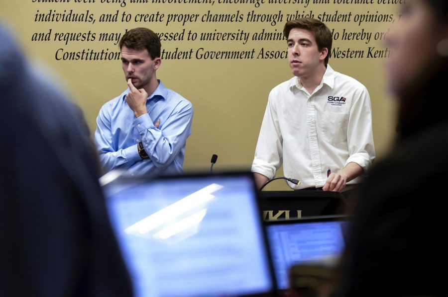 Zach Jones (left) and James Line (right) propose bill 21-17-S during the SGA meeting on Tuesday, April 3, 2017. The bill was passed, lowering the GPA requirement for SGA members from 2.5 to 2.0.