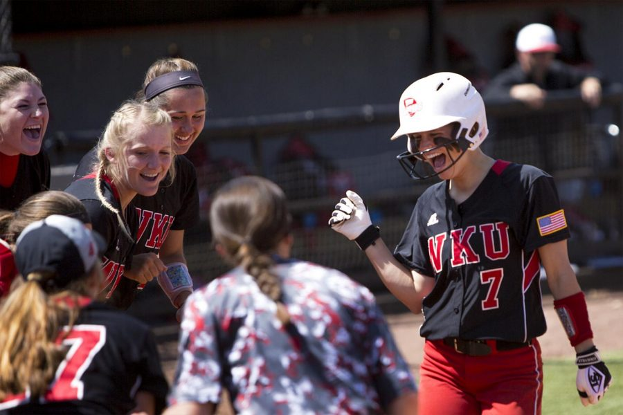 Sophomore infielder Rebekah Engelhardt (7) runs to home base after hitting a home run during WKU's 3-2 loss to UAB on March 2 at the WKU Softball Complex.