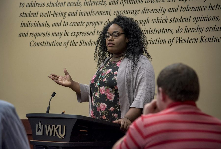 Student+Government+Association+Senator%2C+Andrea+Ambam+speaks+to+attendees+following+the+passing+of+the+resolution+to+support+reparations%2C+during+the+final+SGA+meeting+in+Downing+Student+Union+on+Tuesday.+Ambam+was+one+of+the+two+authors+of+6-17-S.