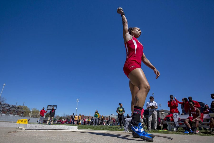 Senior thrower Jenessa Jackson from Marietta, Georgia prepares for shotput during the Hilltopper relays on Friday, at the Charles M. Reuter Track and Field Complex.