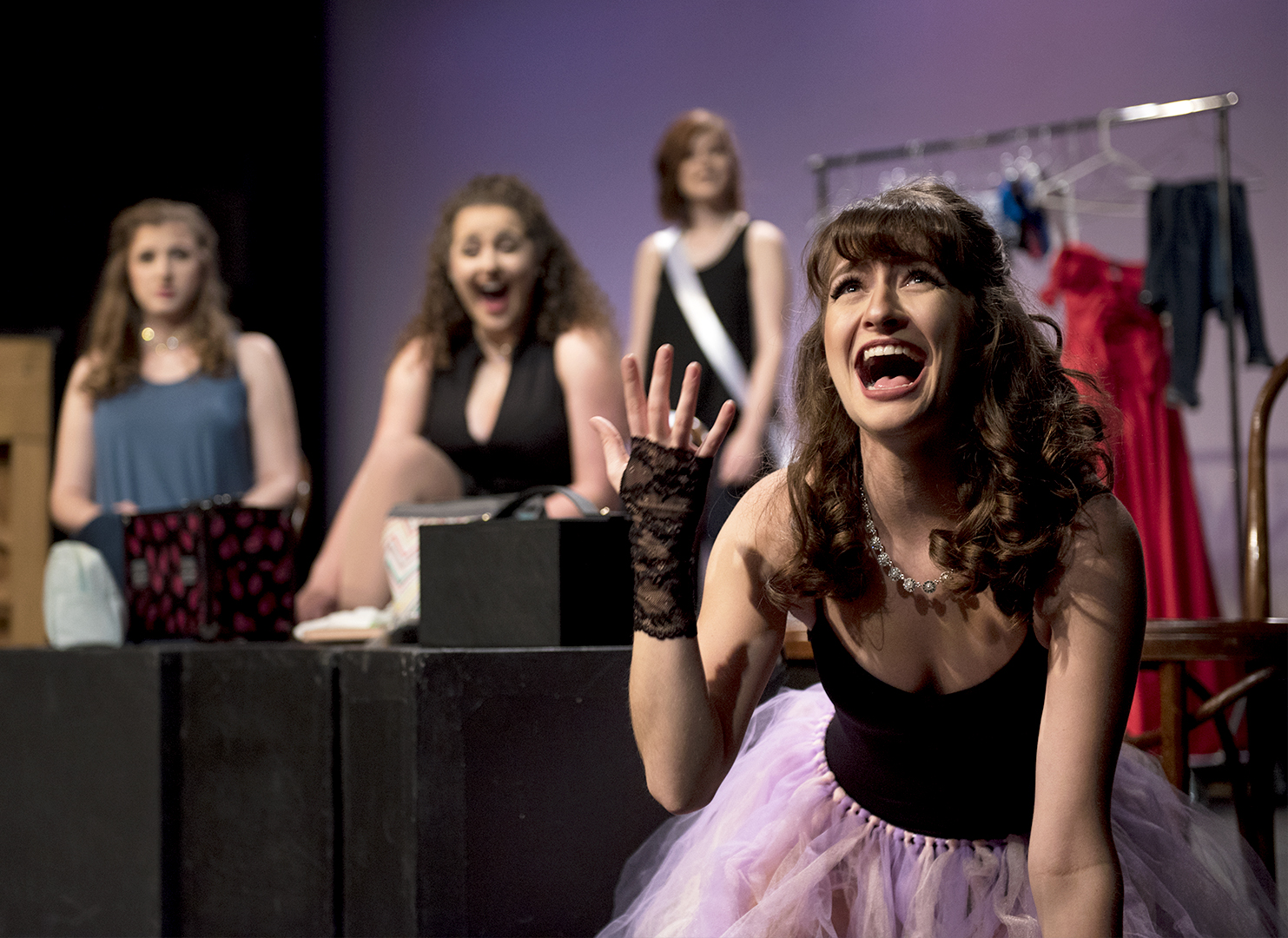 Hannah Beth Turner (right) rehearses a short scene during photo call for