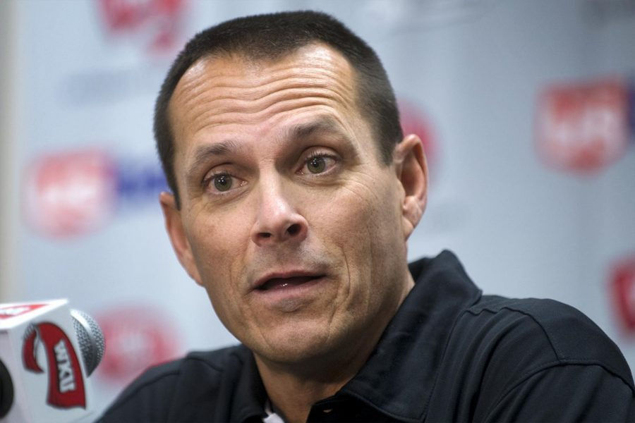 Second year head coach John Pawlowski speaks during the media day on Tuesday at E.A. Diddle Arena.