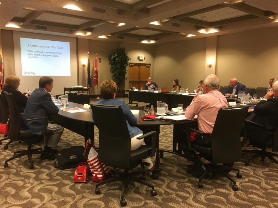 Members from the Board of Regents gathered at the Knicely Conference Center for an annual retreat where they discussed WKU's mission and strategic plan for the next year. Rebekah Alvey/WKU Herald