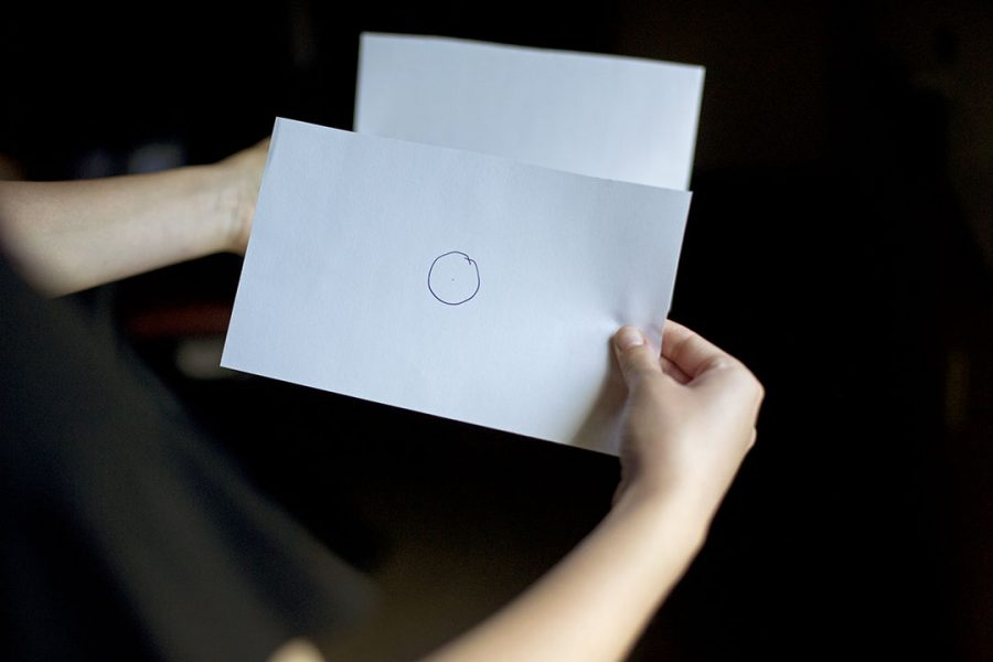 This paper method involves the same method as the foil method, however this method only includes one pin hole instead of multiple. Then viewing the eclipse on the second sheet of paper.