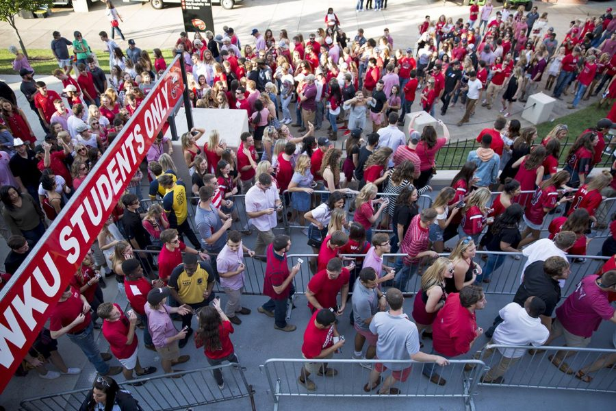 WKU students rush to Houchens Stadium after tailgating ended, Saturday, Sept. 2, 2017. Tailgating was once held in