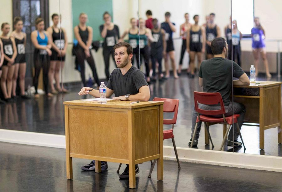 Jim+Cooney+holds+a+mock+audition+during+the+dance+master+class+Saturday%2C+March+3%2C+2014%2C+in+Gordon+Wilson+Hall+in+Bowling+Green%2C+Ky.+Cooney+critiqued+the+dancers+after+watching+them+perform+%27Dancing+in+the+Street%27+from+the+Broadway+musical+Motown+and+told+the+dancers+who+he+would+have+called+back+if+it+had+been+a+real+audition.