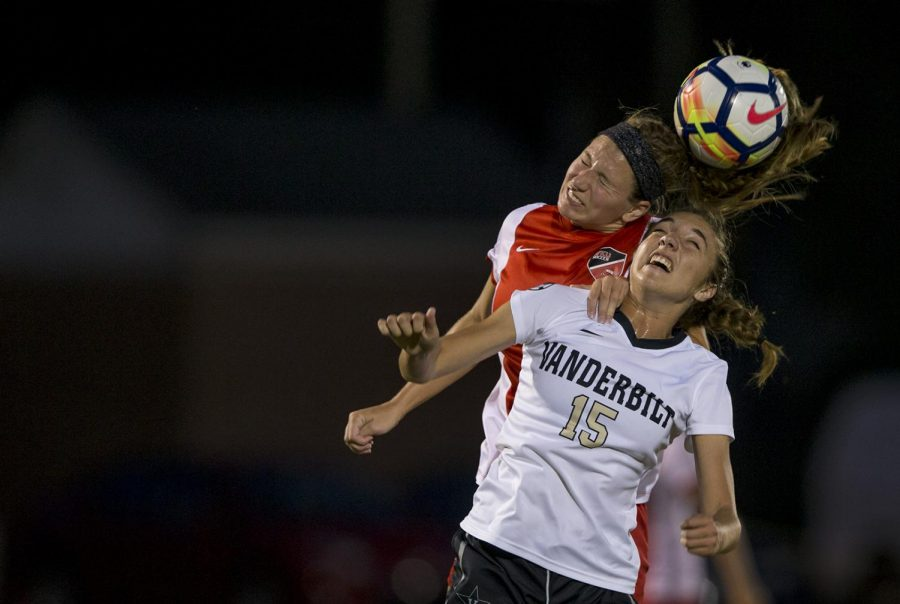 WKU+sophomore+Chandler+Backes+%285%29+attempts+to+head+the+ball+during+WKU%27s+game+verses+Vanderbilt+on+Friday+Sept.+8+at+the+WKU+Soccer+Complex.