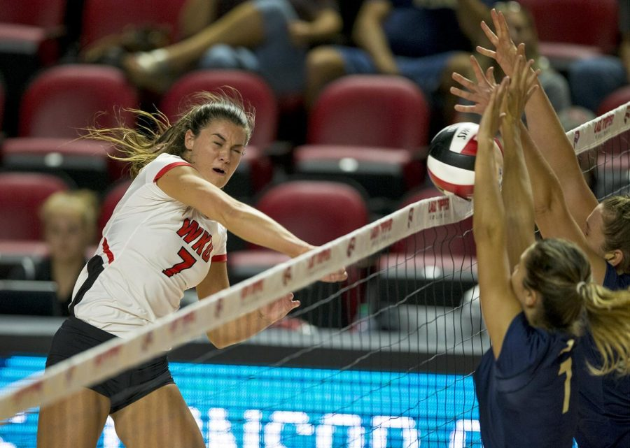 WKU senior Alyssa Cavanaugh (7) spikes the ball during their game vs. Pittsburgh on Friday, September 8, 2017 in Diddle Arena. This weekend WKU competed a tournament and Cavanaugh was named the tournament MVP.