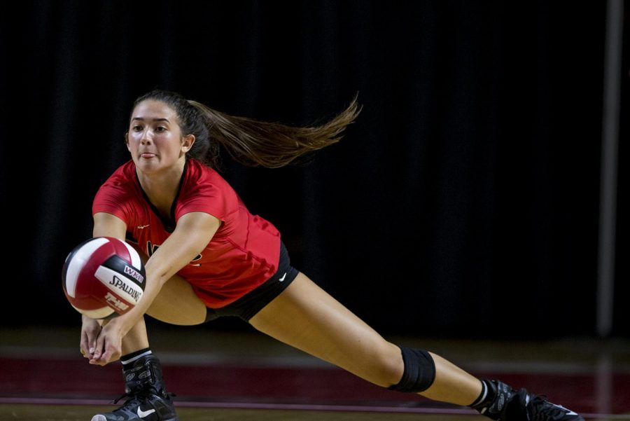 WKU sophomore Emma Kowalkowski (3) reaches for the ball during their game vs. Pittsburgh on Sept. 8, 2017 in E.A. Diddle Arena. The Lady Toppers won 3-2.