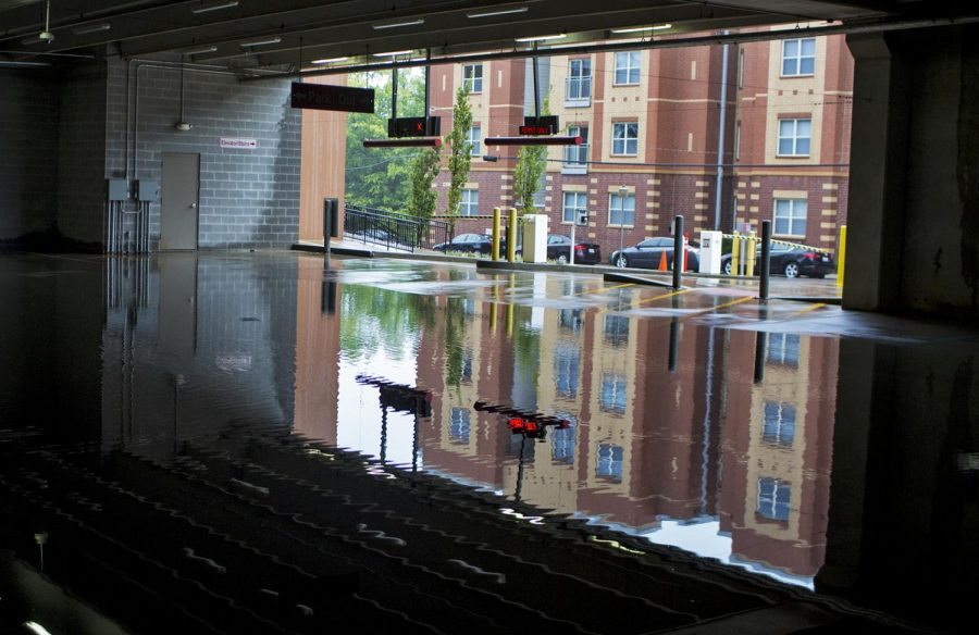 Management closed the lower entrance to the Alumni Center parking structure on after the lowest floor was flooded with over 5 inches of water in some places on September 1, 2017.